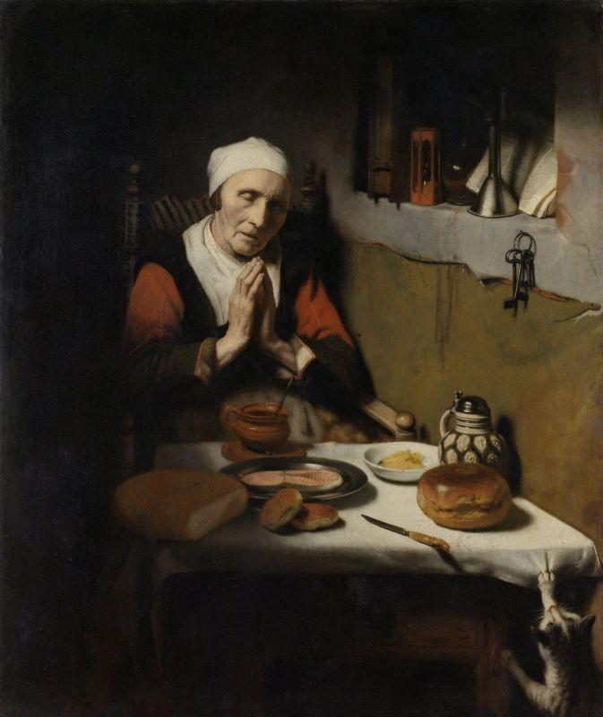 """""""אישה זקנה מברכת"""" של ניקולאס מאס (1656 רייקסמוזיאום)"""